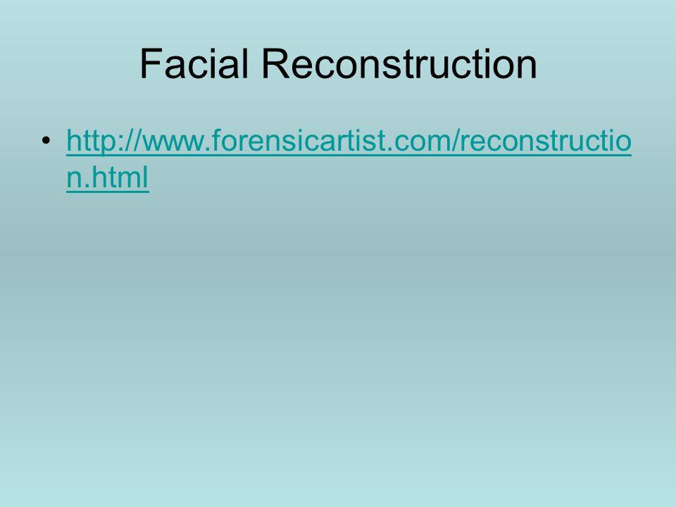 Facial Reconstruction http://www.forensicartist.com/reconstructio n.htmlhttp://www.forensicartist.com/reconstructio n.html