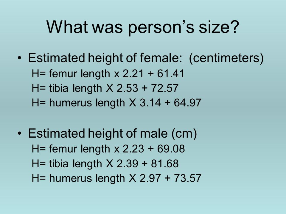 What was person's size.