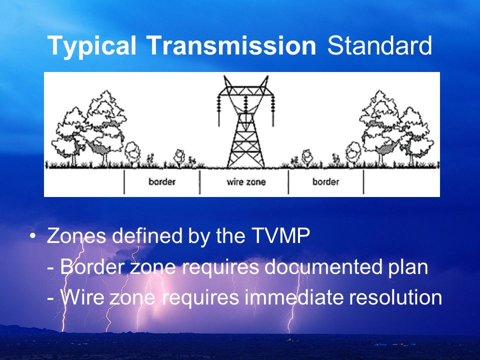 Typical Transmission Standard Zones defined by the TVMP - Border zone requires documented plan - Wire zone requires immediate resolution