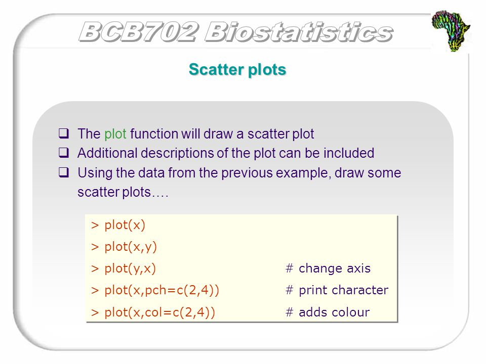 Scatter plots  The plot function will draw a scatter plot  Additional descriptions of the plot can be included  Using the data from the previous ex