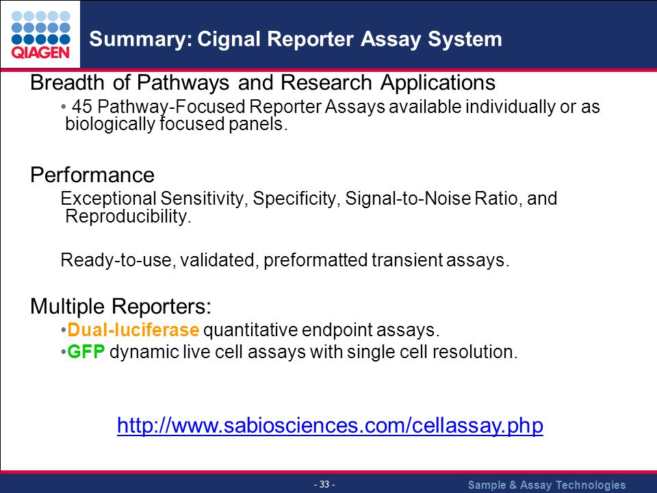 Sample & Assay Technologies - 33 - Summary: Cignal Reporter Assay System.