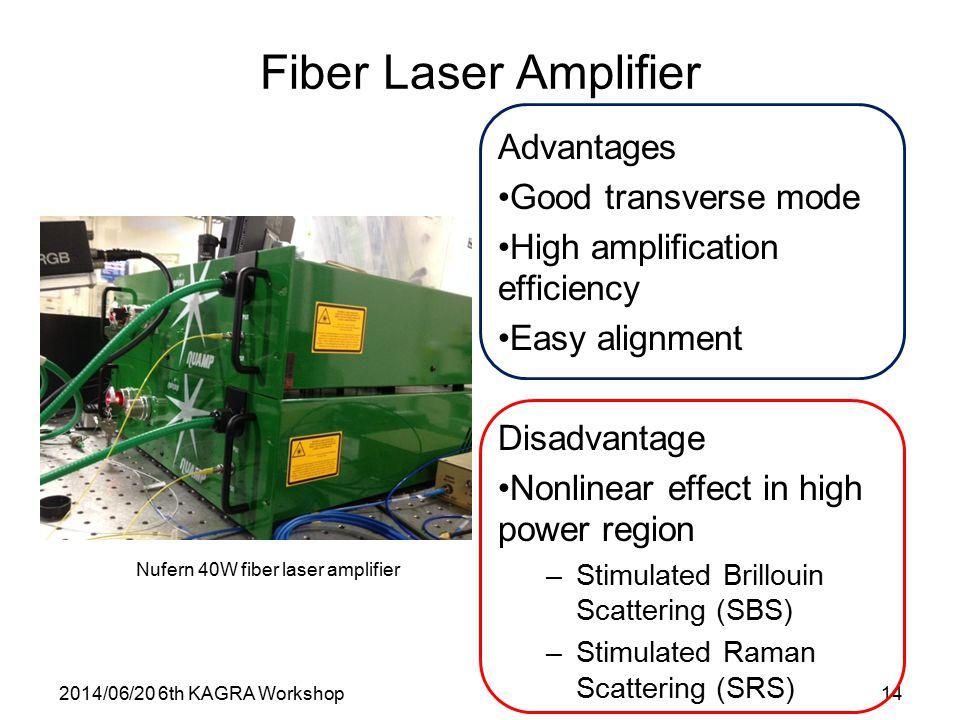 2014/06/20 6th KAGRA Workshop14 Fiber Laser Amplifier Advantages Good transverse mode High amplification efficiency Easy alignment Disadvantage Nonlinear effect in high power region –Stimulated Brillouin Scattering (SBS) –Stimulated Raman Scattering (SRS) Nufern 40W fiber laser amplifier