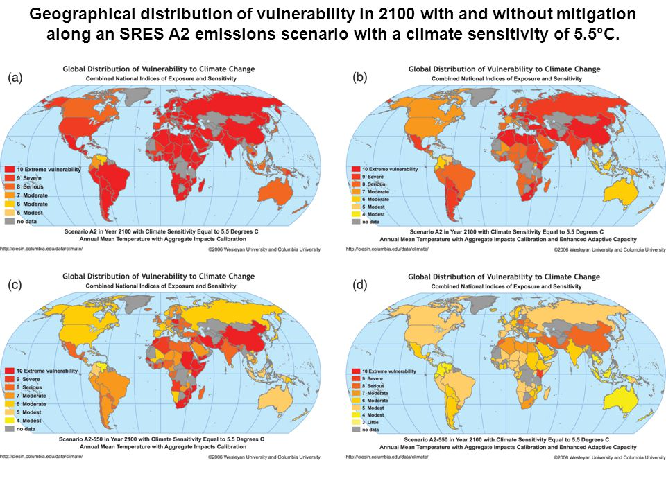 Geographical distribution of vulnerability in 2100 with and without mitigation along an SRES A2 emissions scenario with a climate sensitivity of 5.5°C.