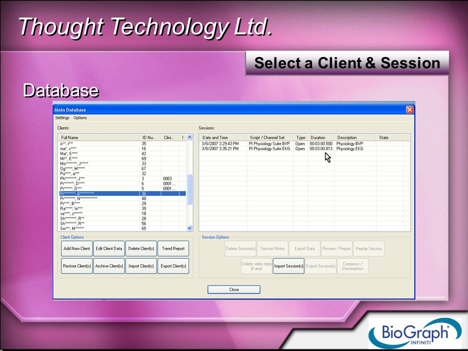 Thought Technology Ltd. Select a Client & Session Database