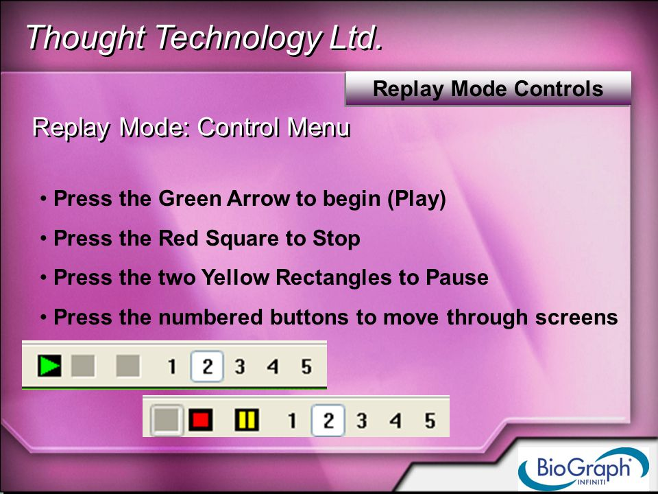 Thought Technology Ltd. Replay Mode Controls Replay Mode: Control Menu Press the Green Arrow to begin (Play) Press the Red Square to Stop Press the tw