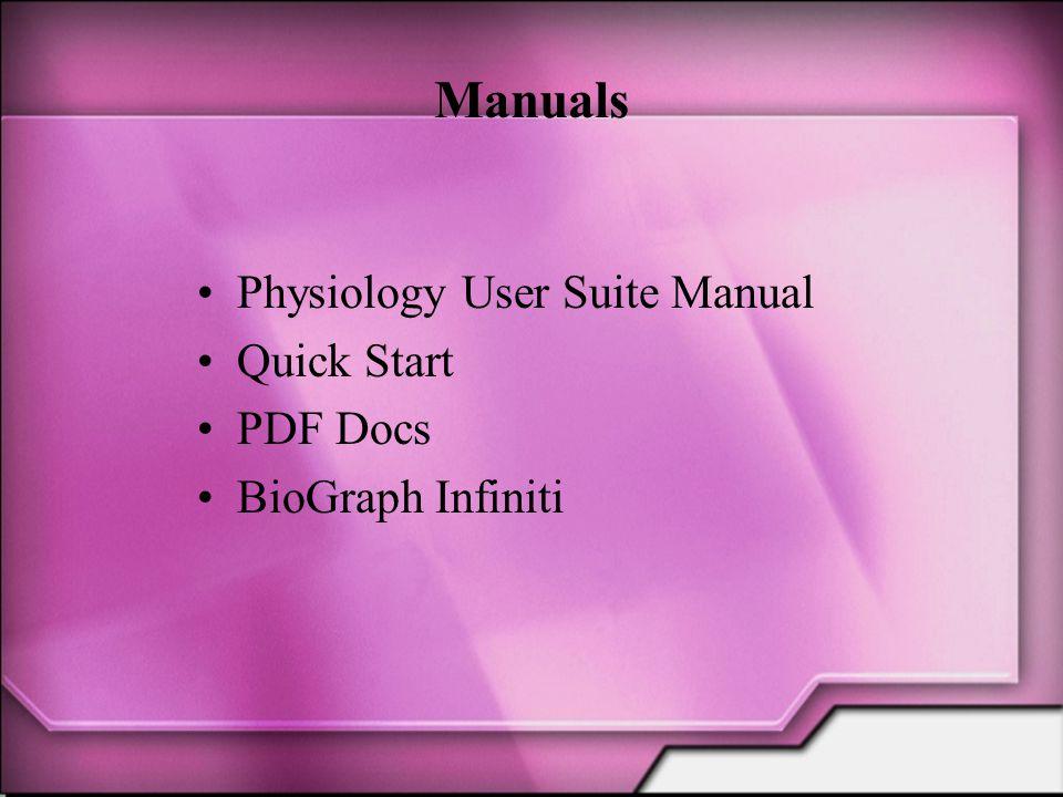 Manuals Physiology User Suite Manual Quick Start PDF Docs BioGraph Infiniti