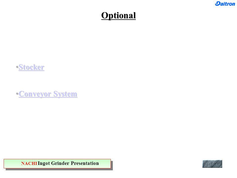 Optional StockerStockerStocker Conveyor SystemConveyor SystemConveyor SystemConveyor System NACHI Ingot Grinder Presentation