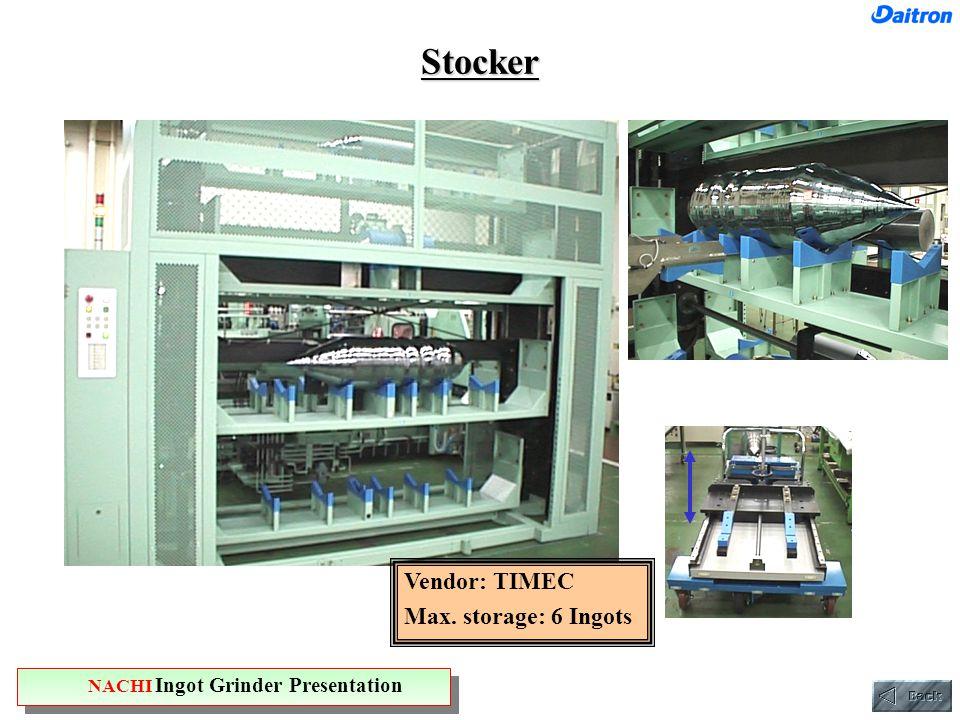 Stocker Vendor: TIMEC Max. storage: 6 Ingots NACHI Ingot Grinder Presentation