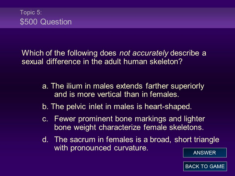 Topic 5: $500 Question Which of the following does not accurately describe a sexual difference in the adult human skeleton.
