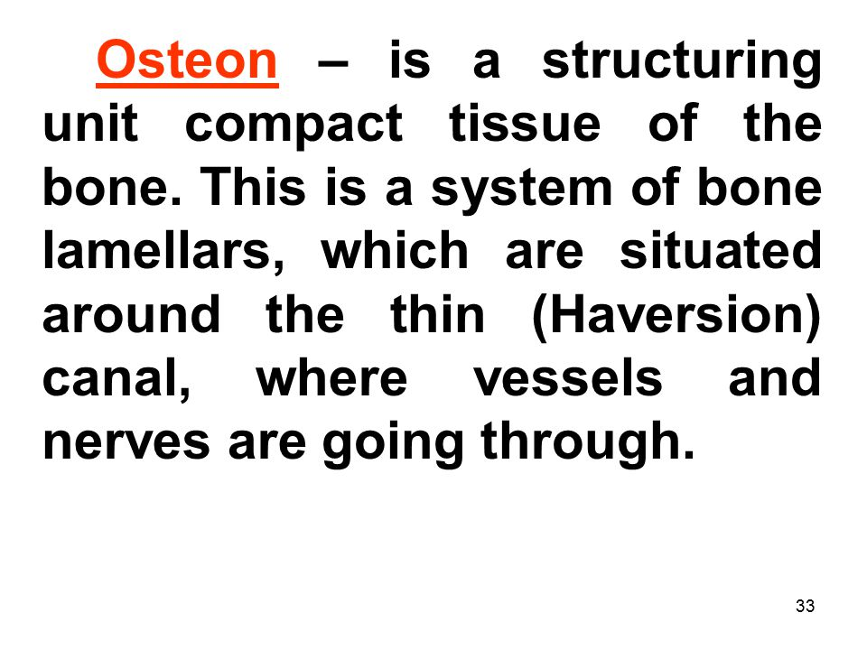 33 Osteon – is a structuring unit compact tissue of the bone.