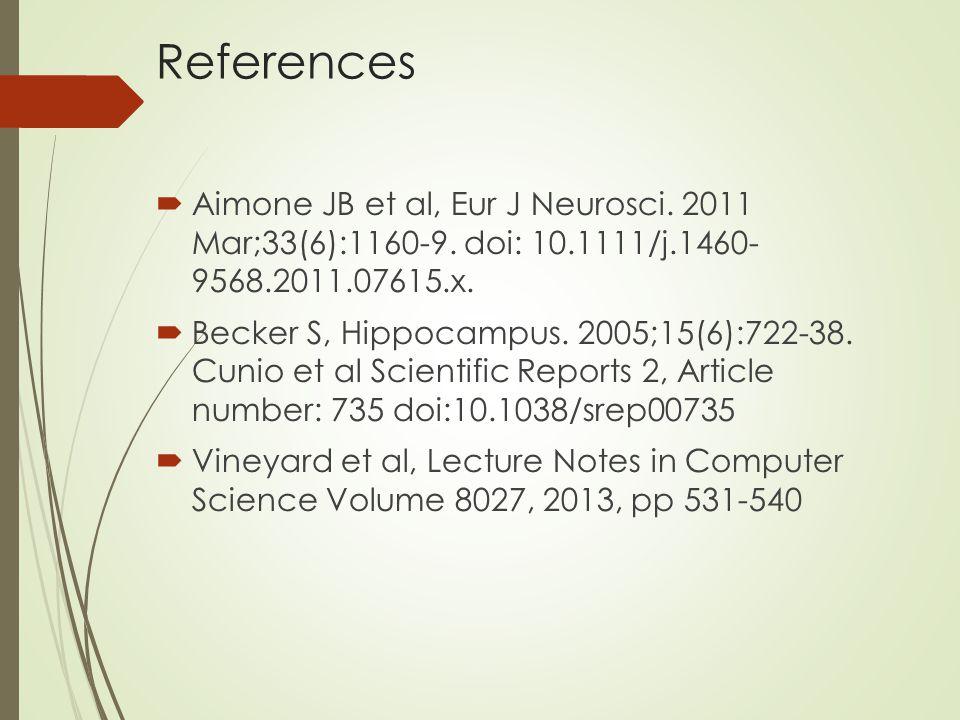 References  Aimone JB et al, Eur J Neurosci. 2011 Mar;33(6):1160-9.