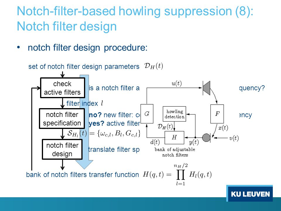 Notch-filter-based howling suppression (7): Howling detection (6) improved detection with multiple-feature howling detection criteria: – logical conju