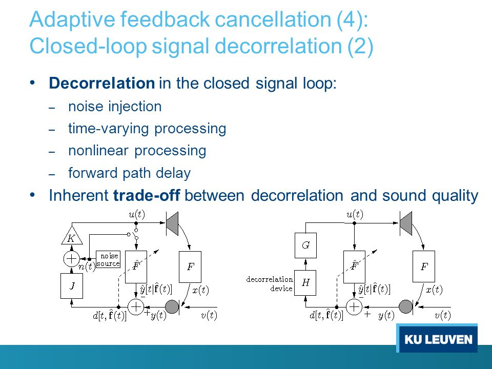 Adaptive feedback cancellation (3): Closed-loop signal decorrelation (1) AFC correlation problem: – LS estimation bias vector – non-zero bias results