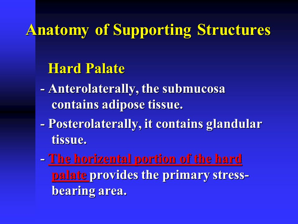 Hard palate- rugae area: Hard palate- rugae area:  It consists of series of ridges in the anterior part of the hard palate  Sets at an angle to residual ridge & covered by thin soft tissues  It is considered as a secondary stress bearing area Anatomy of Supporting Structures
