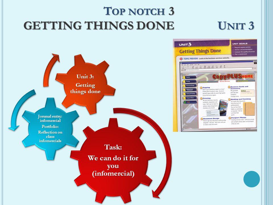T OP NOTCH 3 GETTING THINGS DONE U NIT 3 Task: We can do it for you (infomercial) Jorunal entry: infomercial Portfolio: Reflection on class infomercia