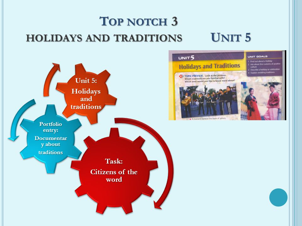 T OP NOTCH 3 HOLIDAYS AND TRADITIONS U NIT 5 Task: Citizens of the word Portfolio entry: Documentar y about traditions Unit 5: Holidays and traditions