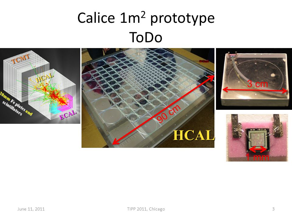 Calice 1m 2 prototype ToDo ECAL HCAL TCMT 20mm Fe plates and scintillators 90 cm HCAL 3 cm 1 mm June 11, 2011TIPP 2011, Chicago3