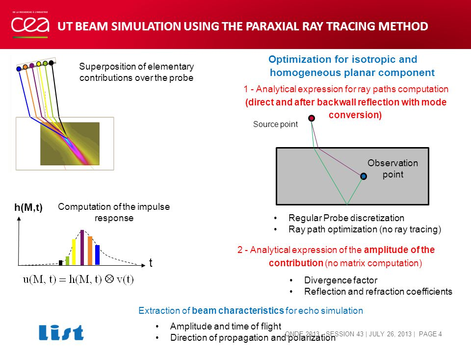 Optimization for isotropic and homogeneous planar component Superposition of elementary contributions over the probe t h(M,t) Computation of the impulse response UT BEAM SIMULATION USING THE PARAXIAL RAY TRACING METHOD Observation point Source point 1 - Analytical expression for ray paths computation (direct and after backwall reflection with mode conversion) Regular Probe discretization Ray path optimization (no ray tracing) 2 - Analytical expression of the amplitude of the contribution (no matrix computation) Divergence factor Reflection and refraction coefficients Extraction of beam characteristics for echo simulation Amplitude and time of flight Direction of propagation and polarization QNDE 2013 - SESSION 43 | JULY 26, 2013 | PAGE 4