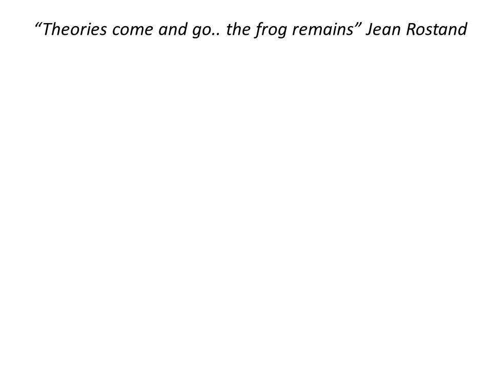 """Theories come and go.. the frog remains"" Jean Rostand"