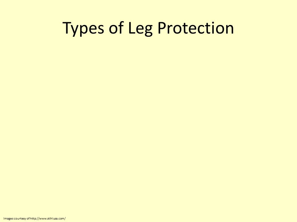 Types of Leg Protection Images courtesy of http://www.stihlusa.com/