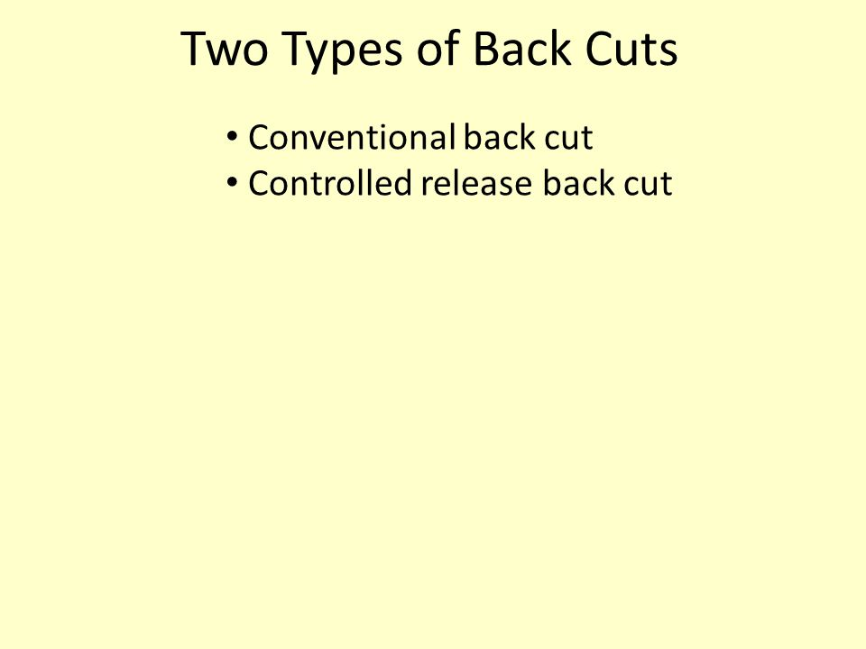 Two Types of Back Cuts Conventional back cut Controlled release back cut