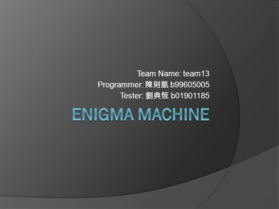 Team Name: team13 Programmer: 陳則凱 b99605005 Tester: 劉典恆 b01901185