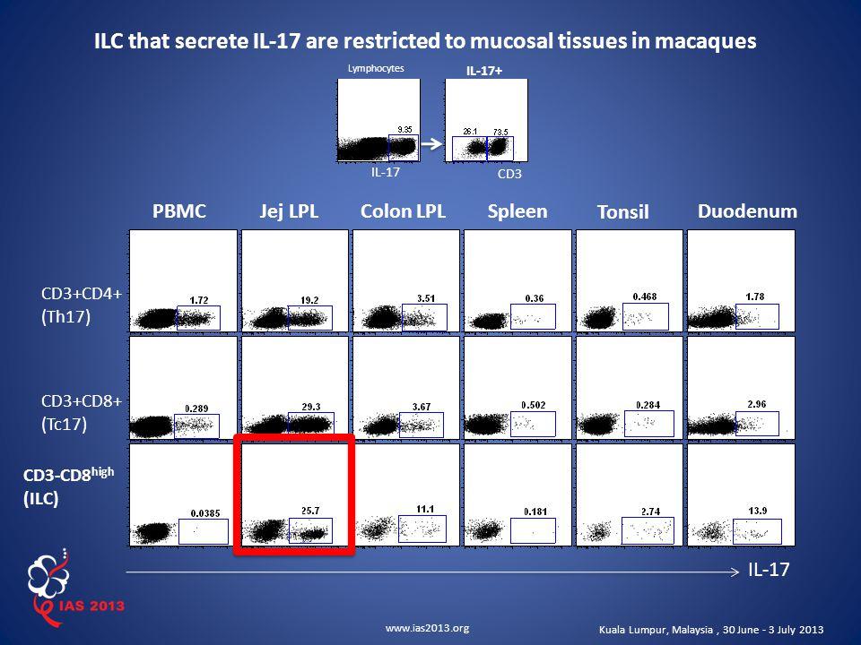 www.ias2013.org Kuala Lumpur, Malaysia, 30 June - 3 July 2013 Lymphocytes IL-17+ IL-17 CD3 CD3+CD4+ (Th17) CD3+CD8+ (Tc17) CD3-CD8 high (ILC) IL-17 PBMCJej LPLColon LPLSpleen Tonsil Duodenum ILC that secrete IL-17 are restricted to mucosal tissues in macaques