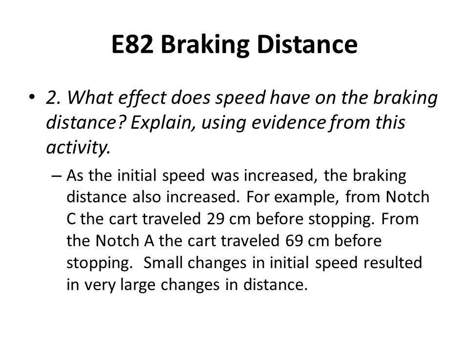 E82 Braking Distance 2. What effect does speed have on the braking distance.
