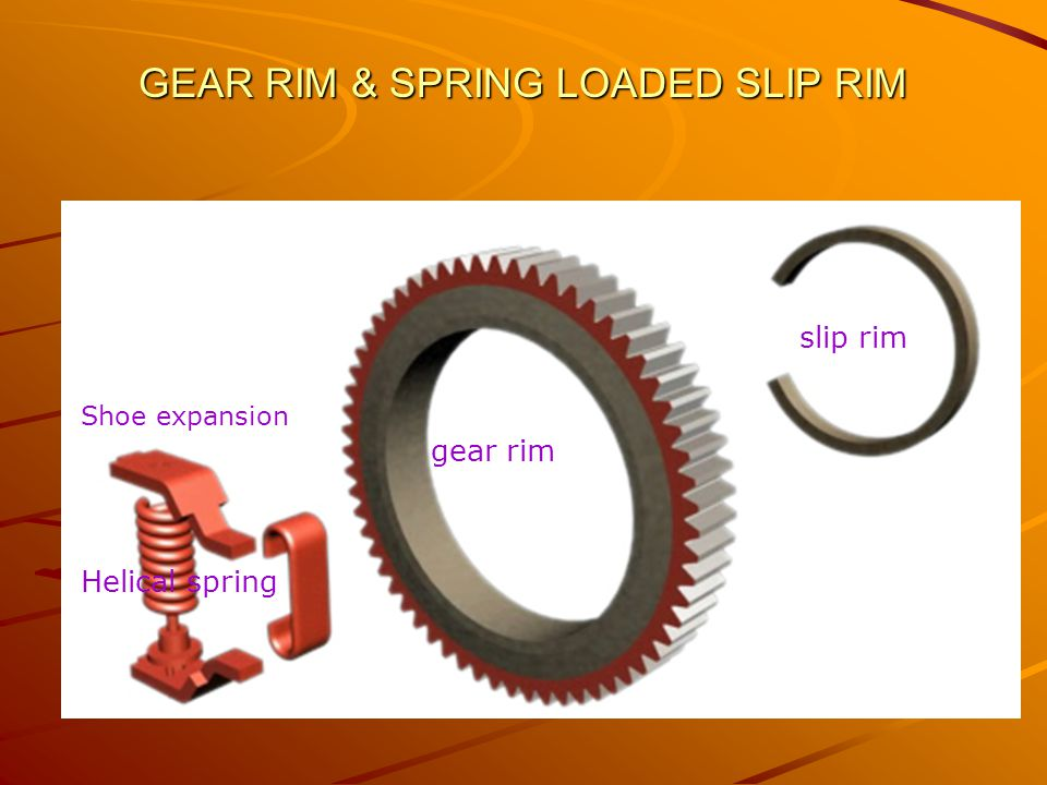 Gear Rim A circular gear having 92 teeth on it's outer periphery It engages with pinion of the Motor It Accommodate slip rim and spring loaded shoe expansion.