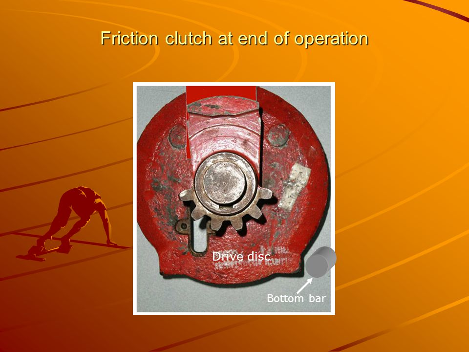 Friction clutch at end of operation Bottom bar Drive disc