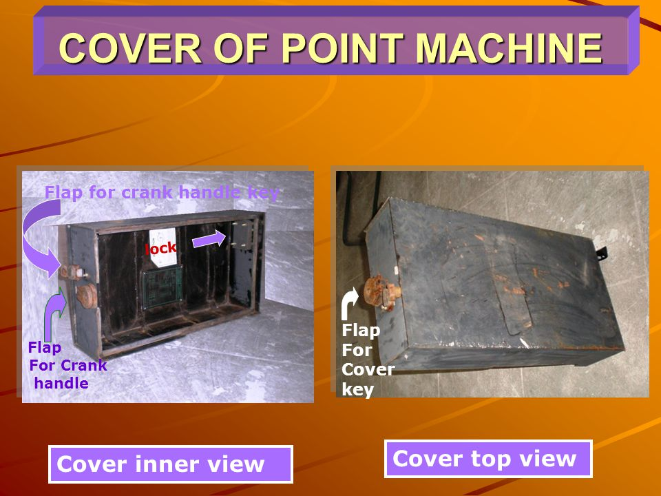 COVER OF POINT MACHINE Cover top view Cover inner view lock Flap For Crank handle Flap For Cover key Flap for crank handle key
