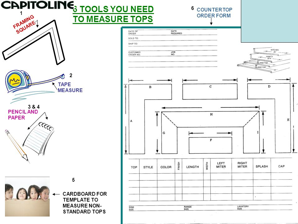 FRAMING SQUARE TAPE MEASURE PENCIL AND PAPER CARDBOARD FOR TEMPLATE TO MEASURE NON- STANDARD TOPS 6 TOOLS YOU NEED TO MEASURE TOPS COUNTERTOP ORDER FO
