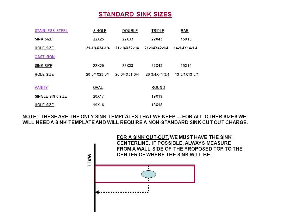 WALL STAINLESS STEELSINGLEDOUBLETRIPLE BAR SINK SIZE22X2522X3322X4315X15 HOLE SIZE 21-1/4X24-1/4 21-1/4X32-1/4 21-1/4X42-1/4 14-1/4X14-1/4 CAST IRON S