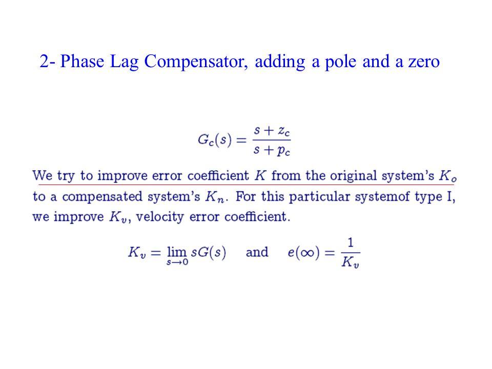 2- Phase Lag Compensator, adding a pole and a zero
