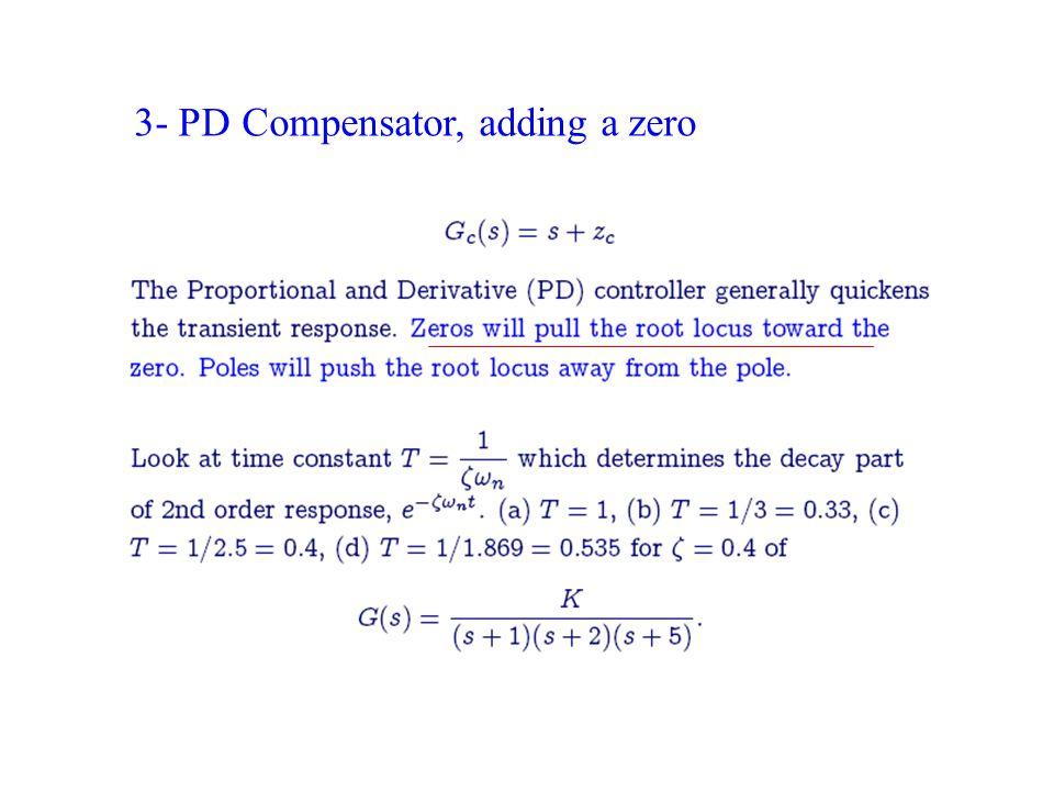 3- PD Compensator, adding a zero