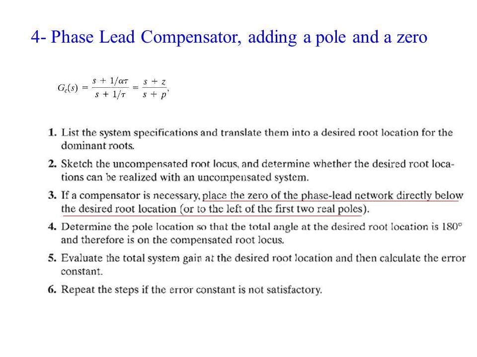 4- Phase Lead Compensator, adding a pole and a zero