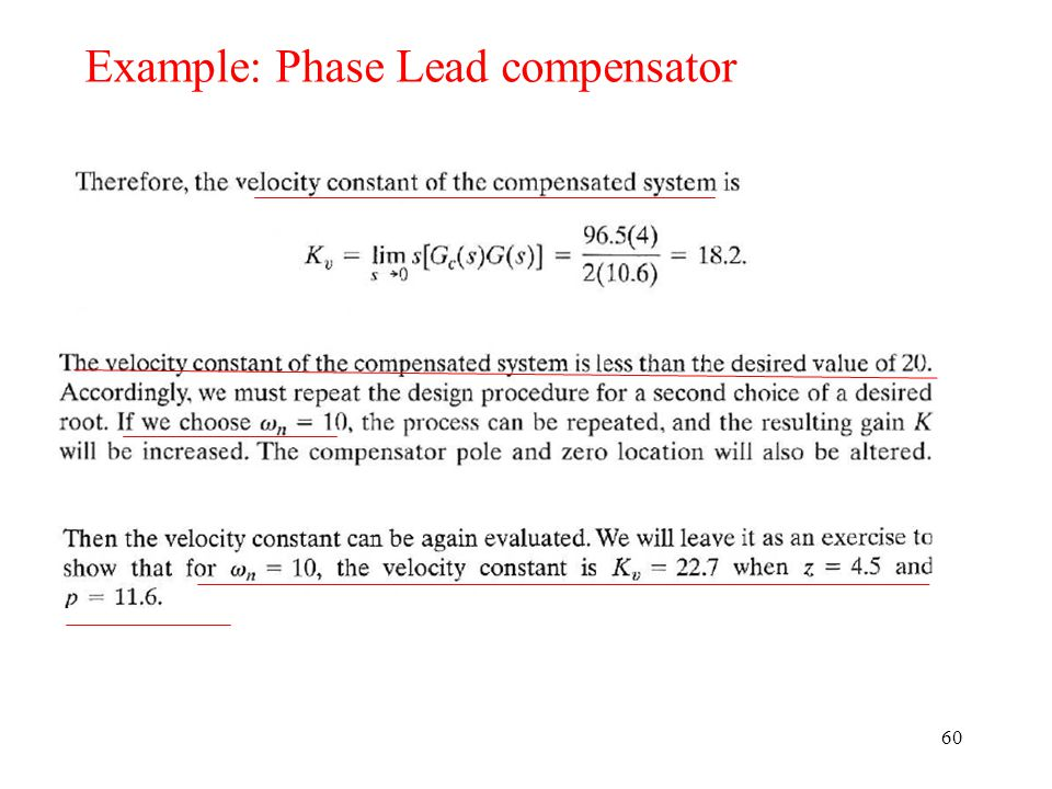 60 Example: Phase Lead compensator
