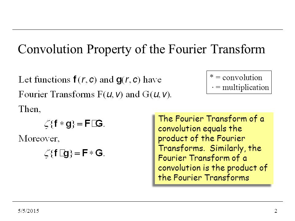 Convolution Property of the Fourier Transform The Fourier Transform of a convolution equals the product of the Fourier Transforms. Similarly, the Four