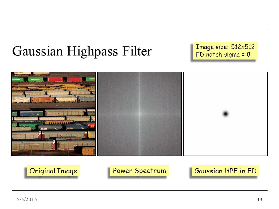 Gaussian HPF in FD Original Image Power Spectrum Gaussian Highpass Filter Image size: 512x512 FD notch sigma = 8 Image size: 512x512 FD notch sigma = 8 5/5/201543