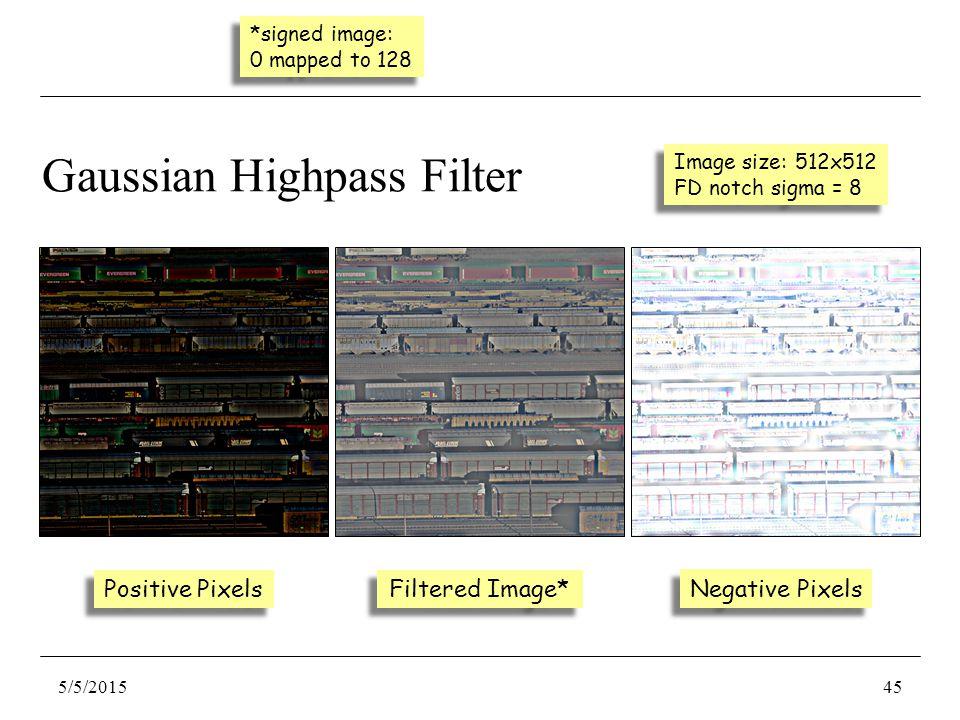 Negative Pixels Positive Pixels Gaussian Highpass Filter Image size: 512x512 FD notch sigma = 8 Image size: 512x512 FD notch sigma = 8 Filtered Image* 5/5/201545 *signed image: 0 mapped to 128