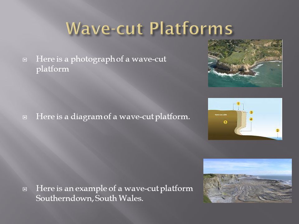  The undercutting in a cliff is called a wave cut cotch.
