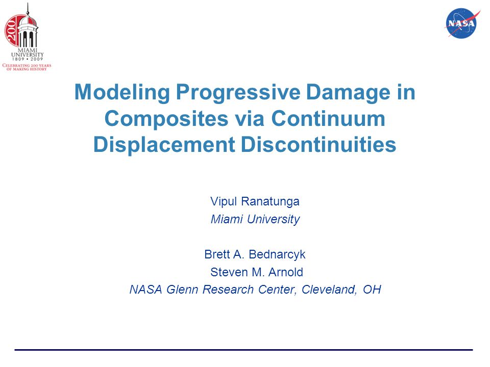 Modeling Progressive Damage in Composites via Continuum Displacement Discontinuities Vipul Ranatunga Miami University Brett A.