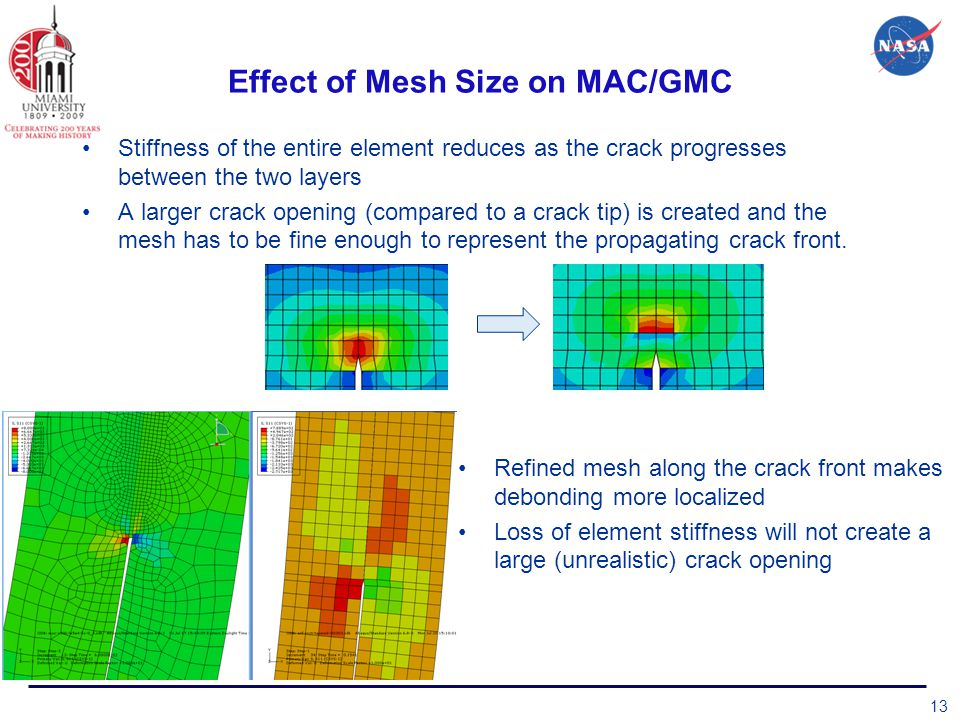 Effect of Mesh Size on MAC/GMC Stiffness of the entire element reduces as the crack progresses between the two layers A larger crack opening (compared