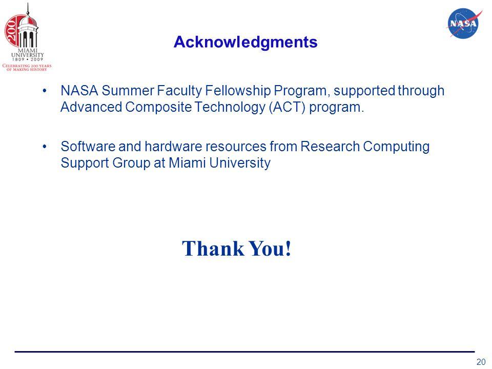 Acknowledgments NASA Summer Faculty Fellowship Program, supported through Advanced Composite Technology (ACT) program.