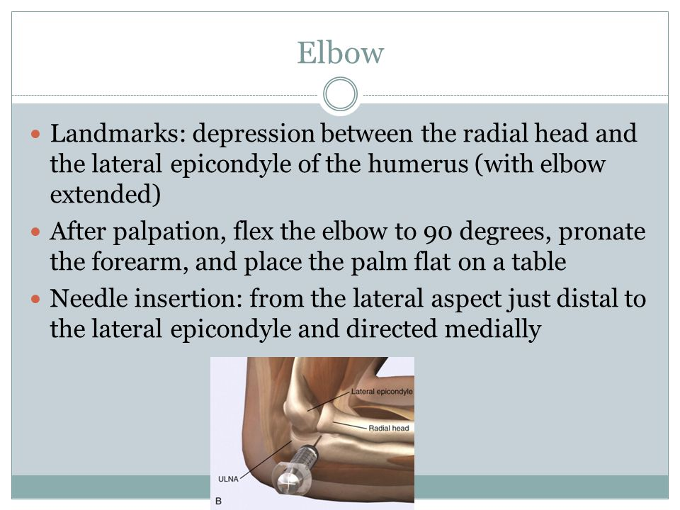 Elbow Landmarks: depression between the radial head and the lateral epicondyle of the humerus (with elbow extended) After palpation, flex the elbow to