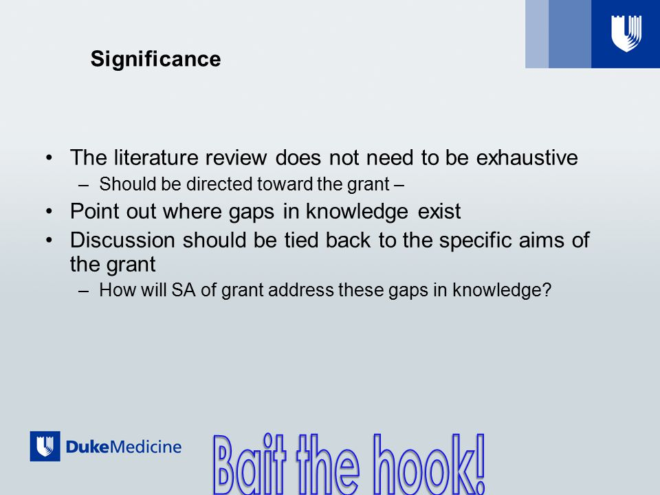 Significance The literature review does not need to be exhaustive –Should be directed toward the grant – Point out where gaps in knowledge exist Discussion should be tied back to the specific aims of the grant –How will SA of grant address these gaps in knowledge?