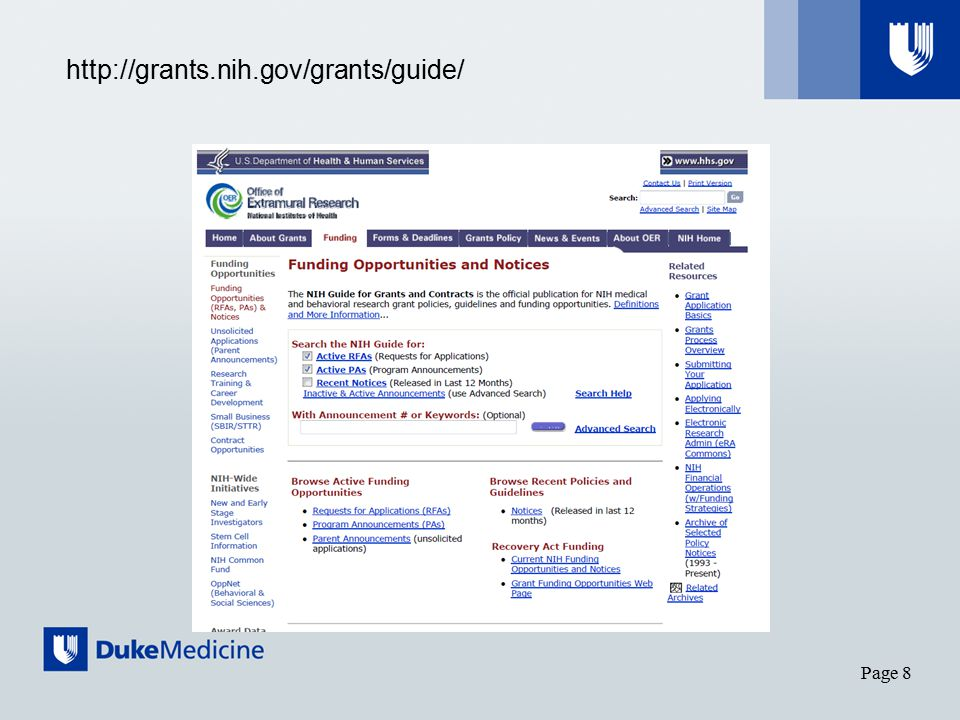 Page 8 http://grants.nih.gov/grants/guide/