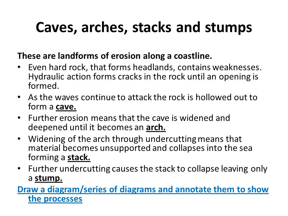 These are landforms of erosion along a coastline. Even hard rock, that forms headlands, contains weaknesses. Hydraulic action forms cracks in the rock