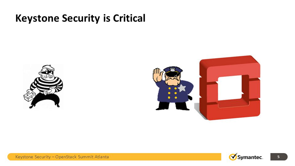 Security of Credentials on the Wire Keystone Security – OpenStack Summit Atlanta 16 POST /tokens Keystone Nova Cinder Swift… Attack vectors on both internal and external networks.