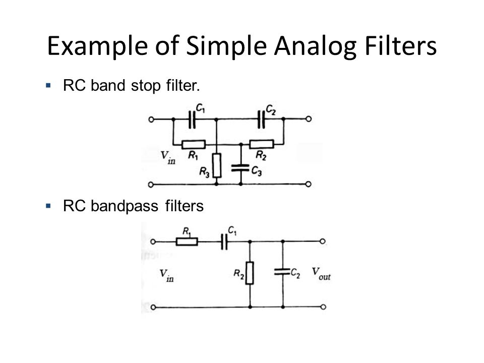 Han Q Le© Example of Simple Analog Filters  RC band stop filter.  RC bandpass filters